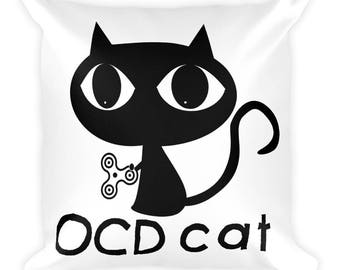 OCD Cat Square Pillow- Christmas Gift- Throw Pillow, Bed Pillow, Kids Room Decor