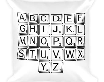 Scrabble Alphabet Square Pillow- Christmas Gift - Throw Pillow, Bed Pillow, Kids Room Decor