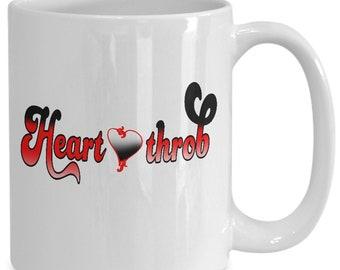 Heart Throb Couples Mugs - Heart Throb - 11oz or 15oz Ceramic Cups For Coffee And Tea