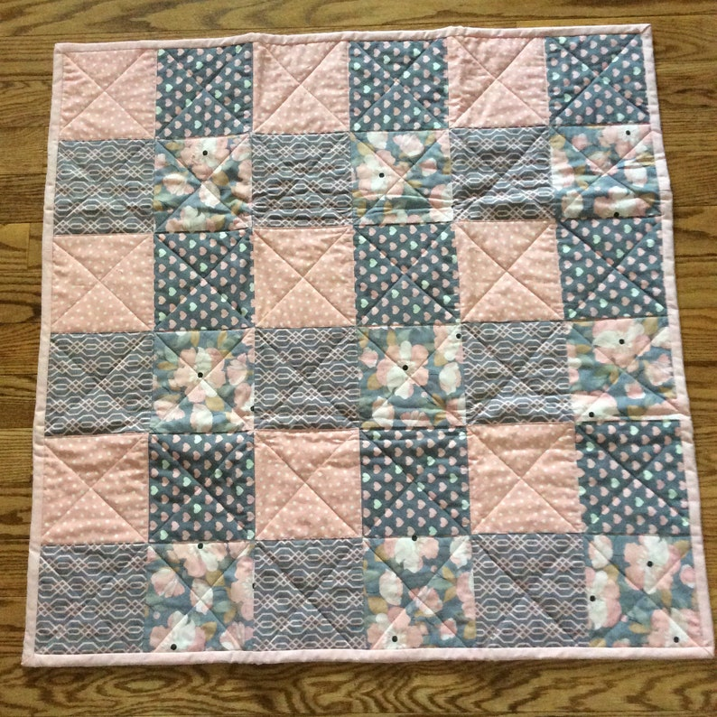 Baby Quilt-Quilted Baby Blanket-Modern Baby Girl Quilt-Handmade Baby Quilt-Pink and Gray Quilt