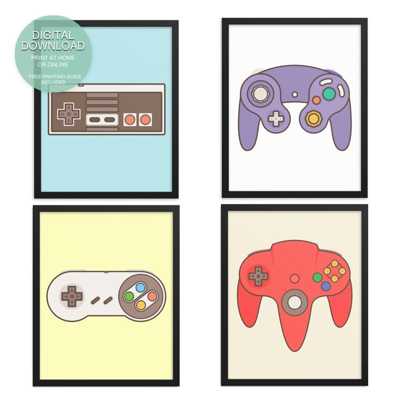 SET OF 4  Video Game Decor Game Controllers Video Game Art image 0
