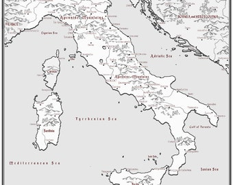 Italy Map Black And White.Italy Map Etsy