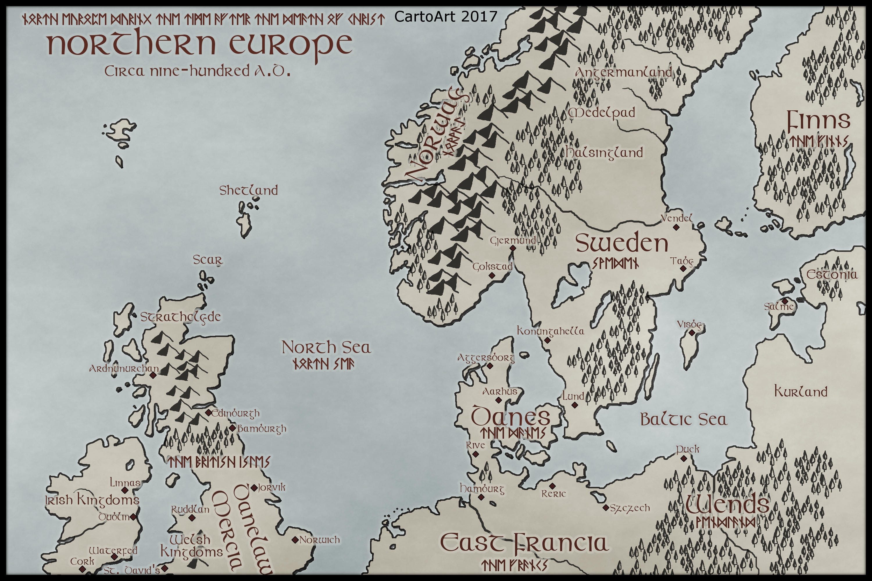 Map Of Ireland Vikings.Viking Map Digital Download