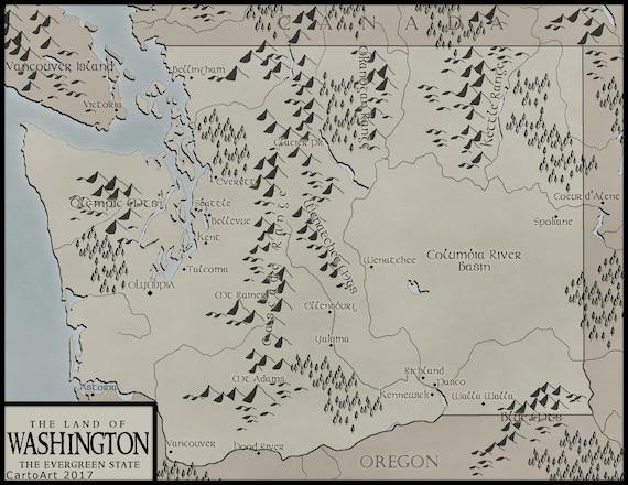 Washington State Map-Digital Download