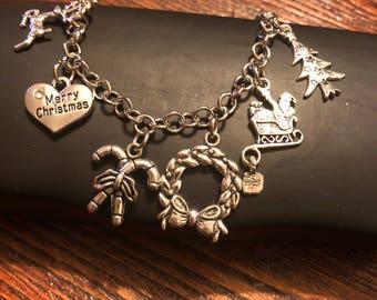 SALE - Christmas Charm Bracelet - Stainless Steel - Fully Adjustable