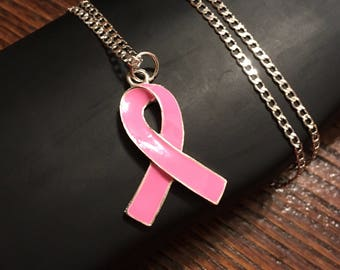 Breast Cancer Awareness Pink Ribbon Necklace