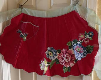 Vintage Apron, Kitchen Apron, Flower Apron, Half Apron,