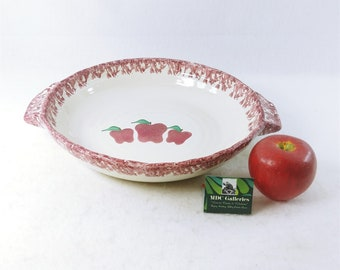 pottery bowl set 1994 prop Vintage 1994 Neher Pottery Stoneware Spongeware Bowls apple pottery bowls Morethebuckles