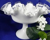 Fenton Silvercrest Compote Dessert, Candy Dish with a Milk Glass Pedestal Base, Scalloped and Ruffled Top With a Clear Edge Rim SKU 04215