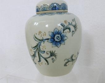 Vtg Andrea by Sadek Ginger Jar Gold /& Yellow Hand Painted Vining Floral 7948