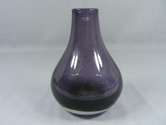 Purple Art Glass Crystal Vase Made In Krosno Poland Original Etsy