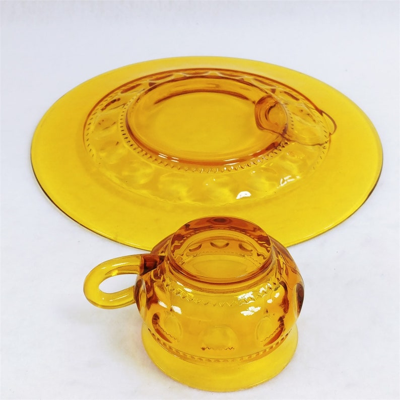 Indiana Glass Kings Crown Thumbprint Amber Snack Set 12 Pc