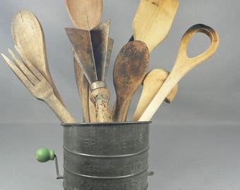 Old Bromwell's Measuring Sifter with Wood Kitchen Utensils, Spoons, Cutter, Ladle Early 20th Century   04249g1551a