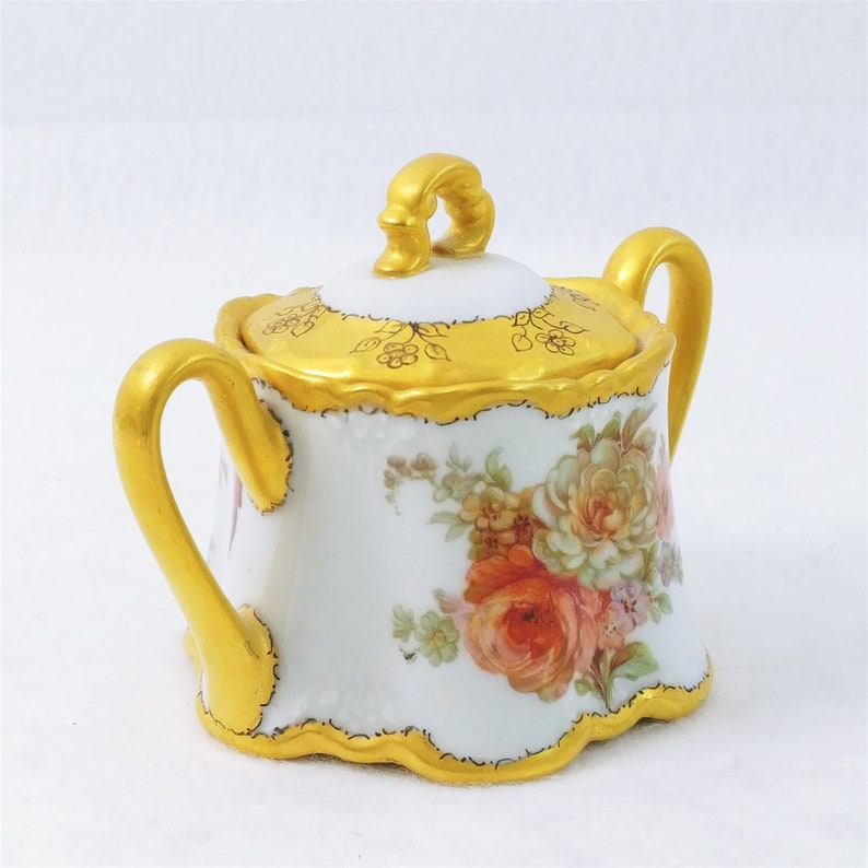 Ricketts Sugar Bowl and Lid Gold Trim Rose Design Hand Decorated by C