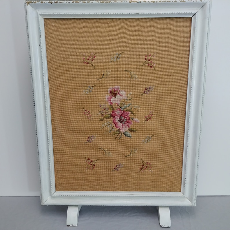 Very Old Vintage Handcrafted Needlepoint Fireplace Screen and Stand 03114