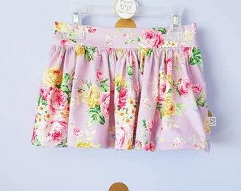 Girls floral twirly skirt lilac purple, girls skirt, girls clothes, toddler skirt toddler clothes, pockets,pretty skirt,summer,ready to send