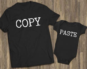 2f8f5dca Copy Paste Set Black | Father Son Baby | Matching Shirts Dad | Matching  TShirts Dad | Matching Tees Dad | Funny Dad Baby | Daddy and Me