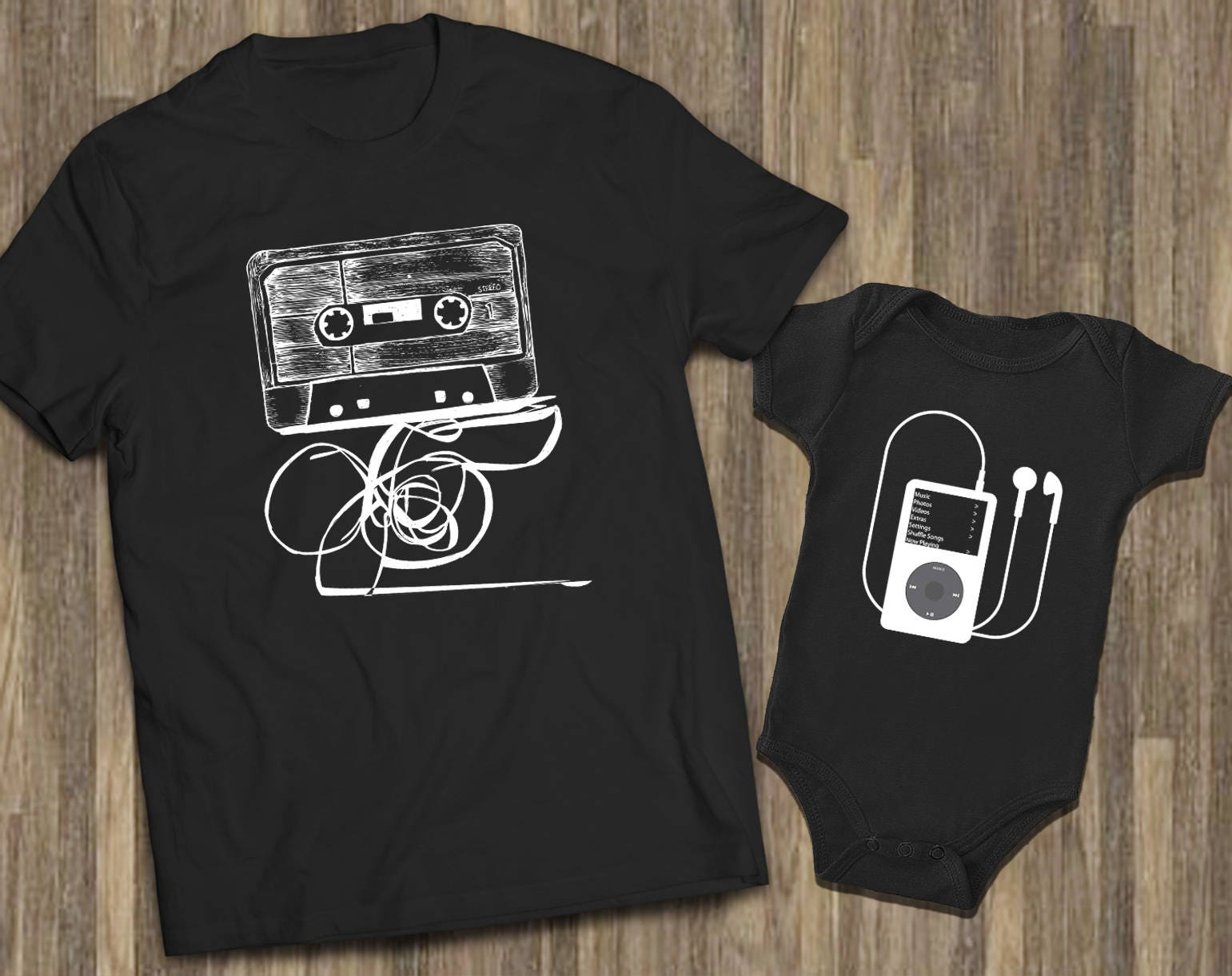 8ad79a4f Father Son Baby Dad Son Shirts Cassette Ipod Shirts | Etsy