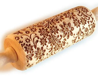 DELICATE FLORAL PATTERN,  Engraved rolling pin,  Embossing Rolling Pin, Decorative Roller, Cookies decorating roller, Laser Rolling Pin