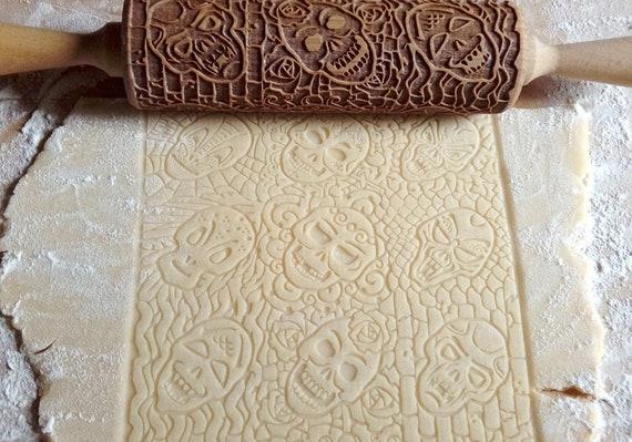 Festa di Halloween, Dia de los Muertos, Laser inciso mattarello, matterello in legno, goffratura mattarello per Cookie, rullo decorativo