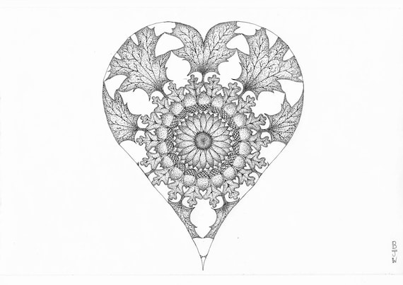 Autumn Heart Dot-Work Mandala A4 Art Print