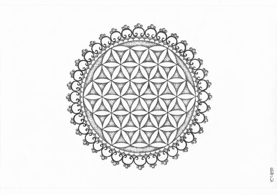 Flower Of Life Dot-Work Mandala A4 Art Print