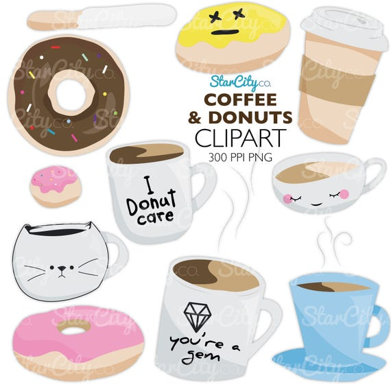 Coffee clipart Donut clipart Kawaii Coffee clipart Donut ...