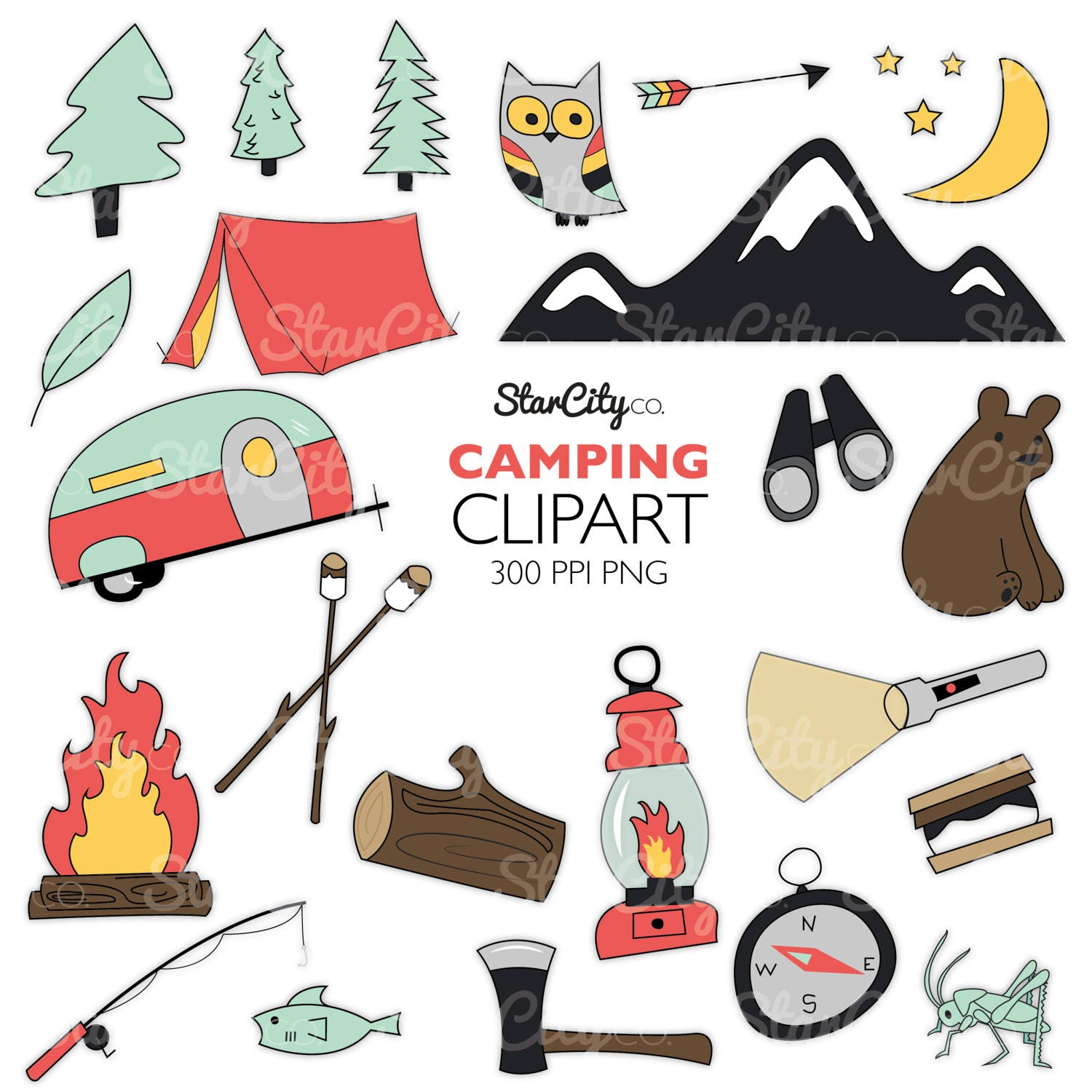 Camping Clipart Camper clipart Hand drawn clipart Fall ...