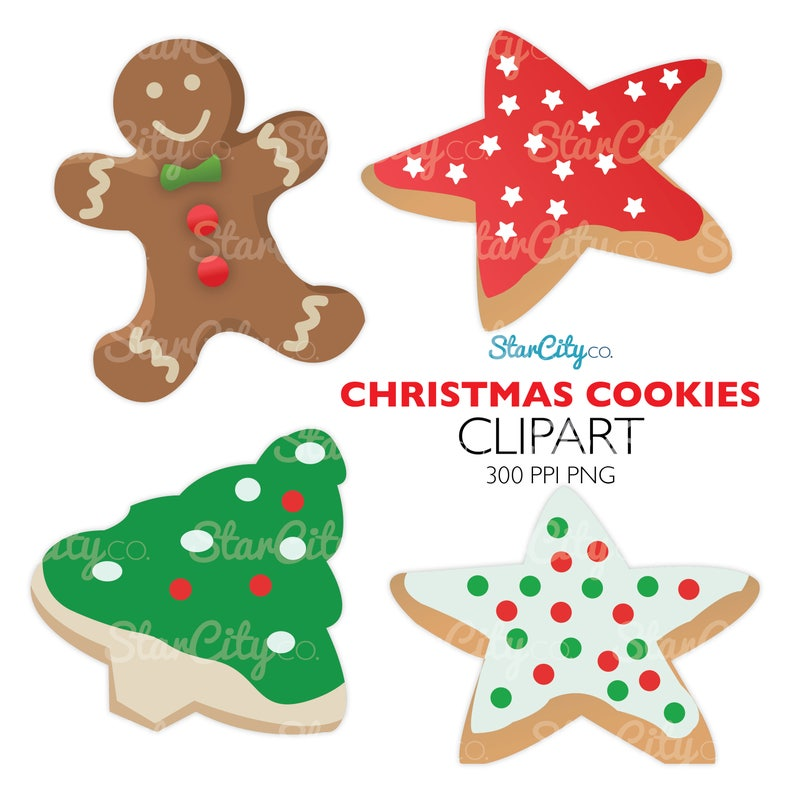 Cookie Clipart Christmas Clipart Christmas Cookie Clipart Gingerbread Man Clipart Christmas Tree Cookie Clipart Commercial Use