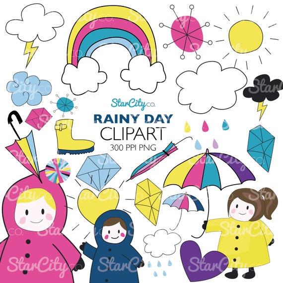 Items similar to Rainy Day Clipart, Rain clipart, Hand ...