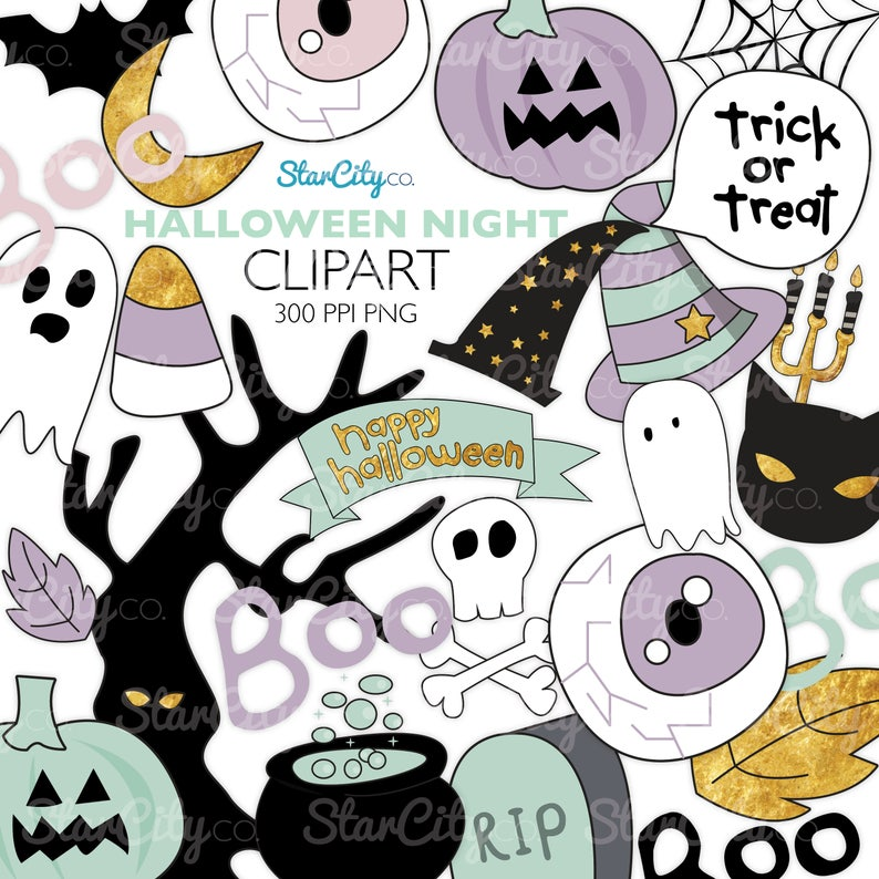 Halloween clipart, Ghost clipart, Cat clipart, pumpkin clipart, Pastel  Halloween clip art, Digital Graphics, commercial use