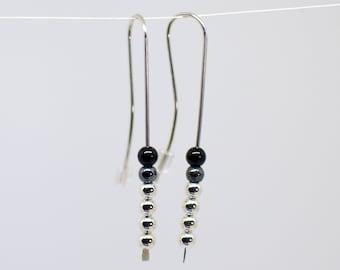 TH-SQ Black Onyx Earrings Modern Gemstone Earrings Square Gem Autumn Jewelry Back to School Earrings Geometric Onyx Threader Earrings