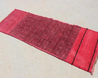 "2' 3"" X 6' 11""  Vintage Bakhtiari Flattened Donkey Bag Runner Sumac Kilim Rug, Red Gray Black Traditional Tribal Style Narrow Skinny Runner"