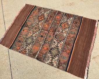 """3' 4"""" X 4' 6"""" Muted Subdued Color Hand-knotted Vintage Sumac Flatweave Area Rug, Squarish Copper Khaki  Sage Traditional Geometric Style"""