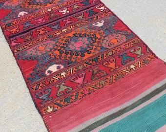 "1' 10"" X 5' 8""  Colorful Vintage Donkey Bag Sumac Kilim Runner, Skinny Red Teal Turquoise Green Orange Multicolored Tribal Style Narrow Rug"