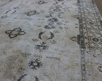 """6' 10"""" X 10' 4"""" White-Washed Vintage Anatolian Neutral Rug, Midcentury Modern, Cream Beige Black Brown Tribal Hint of Green Bedroom Living"""