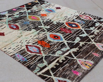 """8' 6"""" X 10' 5"""" Funky Recycled Upcycled Vintage Goat Hair Fiber and Lamb's Wool Modern Hand-knotted Rug, Neutral and Vibrant Colored Soft Rug"""