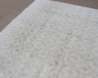 "6' 8"" X 10' White-Washed Vintage Turkish Neutral Beige Carpet, Midcentury Modern, Light White Cream Beige Gray Bedroom living room rug"