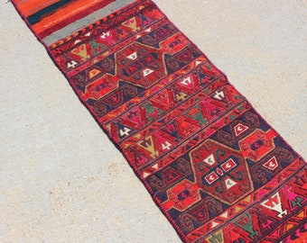 "1' 6"" X 5' 3""  Colorful Vintage Donkey Bag Sumac Kilim Rug, Red Blue Green Orange Multicolored Traditional Tribal Style Narrow Skinny Runner"