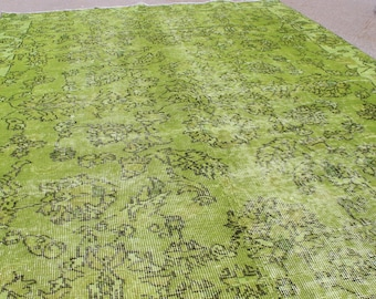 """5' 1"""" X 7' 9"""" Gorgeous Chartreuse Green 1940s Over-Dyed Vintage Turkish Carpet, Midcentury Modern Chartreuse Dyed Anatolian Rug"""