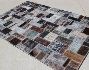 """6' 8"""" X 9' 10"""" Modern Vintage Patchwork Carpet, Masculine Black Bronze Brown Eggplant Neutral  Midcentury Dining Living Bedroom Rug"""