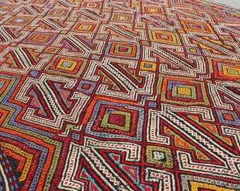 """5' 8"""" X 9' 3"""" Exquisite Primary Color Vintage Turkish Cicim Kilim, Red Green Yellow Blue Cream Perfect Condition Flatweave Rug, Boho Chic"""