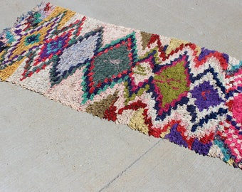 "3' 2"" X 7' 2""  Vintage Moroccan Middle Atlas Rag Rug Carpet, Moroccan Boho Chic Boucherouite Rug, Bohemian Rug of Upcycled Clothing"