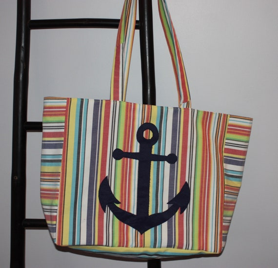 5324792d7ea9 Upcycled Cape Cod Beach Bag YellowRed Blue Stripe with Navy