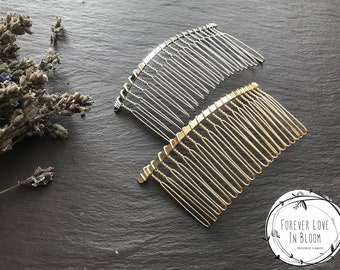 Large Silver Hair Combs (20 Teethes) Wire Hair Combs for Wedding or Tiara Making Base