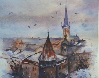 Original watercolor painting Tallinn Europe