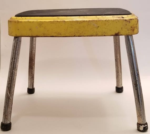 Admirable Vintage Cosco Step Stool Rustic Farmhouse Industrial 1960S Yellow Black Mid Century Chippy Rusty Retro Stool Garage Utility Room Ocoug Best Dining Table And Chair Ideas Images Ocougorg