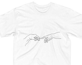52a11e41 When ET met Michelangelo: Simple T-Shirt, Indie T-Shirt, Hand Drawn, Michelangelo  Hands, ET T-Shirt, Vintage T-Shirt, Renaissance T-Shirt