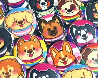 Pride Puppies Buttons (1.5 in) | Pinback Button Set | LGBT | Cute Dogs