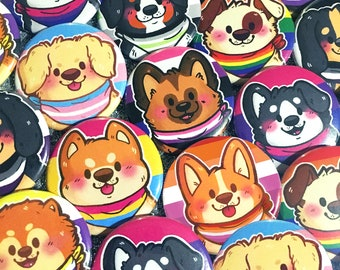 Pride Puppies Buttons (1.5 in) | Cute Dogs Pride Flag Pinback Button Set | LGBT LGBTQ LGBTQIA